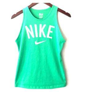 Nike green old school logo tank top